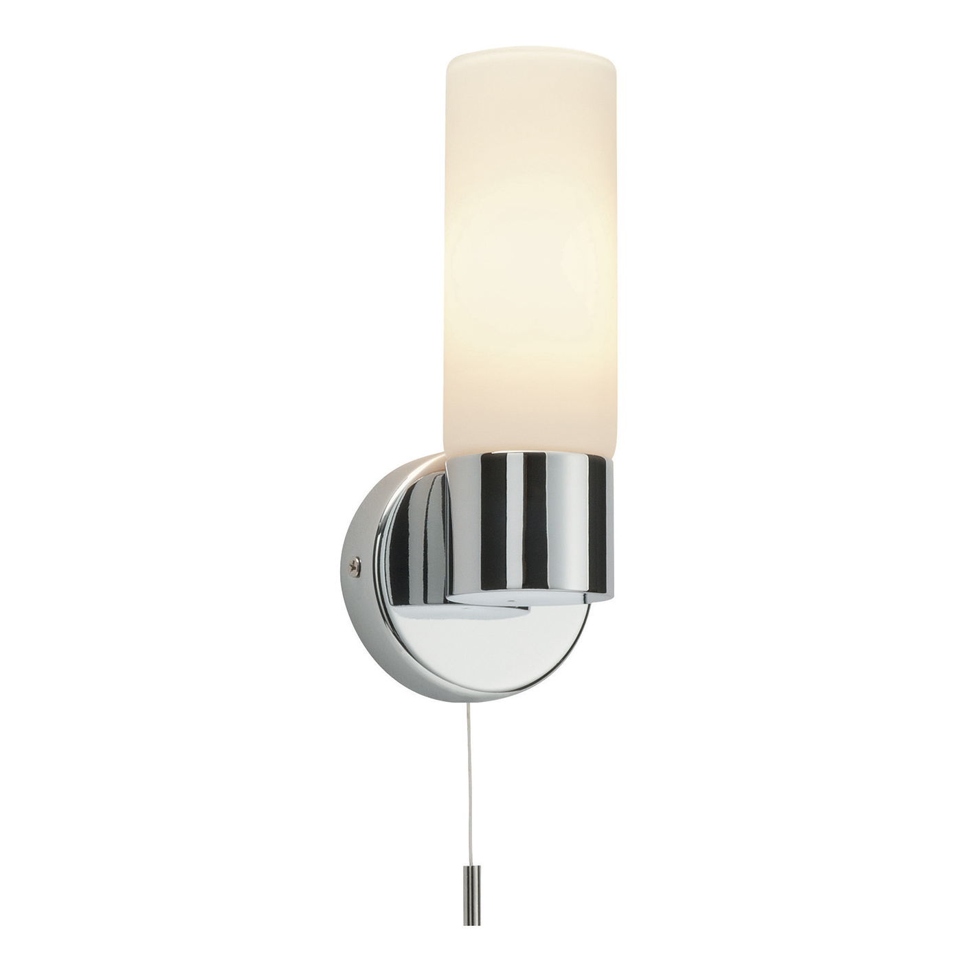Endon Pure 1lt bathroom wall light IP44 40W Chrome & opal glass pull cord Thumbnail 1