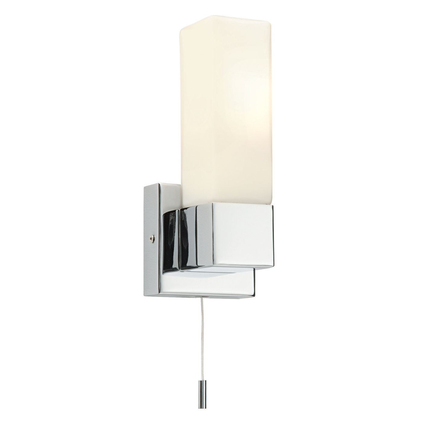 Endon Square 1lt bathroom wall light IP44 40W Chrome & opal glass pull cord Thumbnail 1