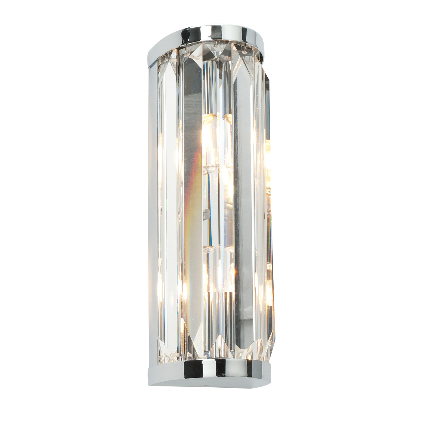 Endon Crystal 2lt bathroom wall light IP44 18W Chrome & clear crystal (k9) glass Thumbnail 1