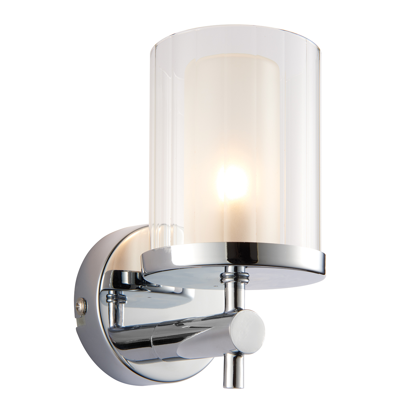Endon Britton 1lt bathroom wall light IP44 18W Chrome & clear rippled glass Thumbnail 1
