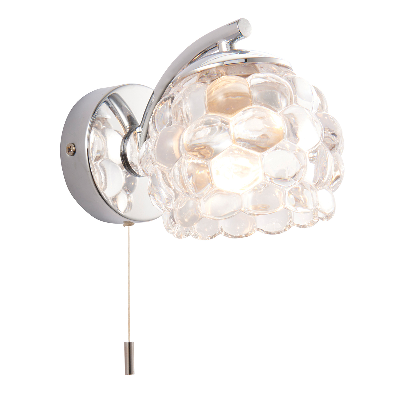 Endon Lawcross 1lt bathroom wall light IP44 18W Chrome & clear glass pull cord Thumbnail 1