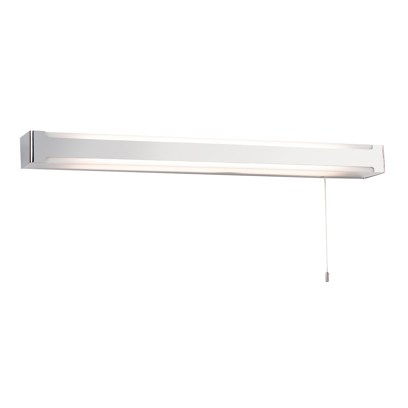 Endon Seval 1lt bathroom wall light HF IP44 14W Chrome & white acrylic pull cord Thumbnail 1