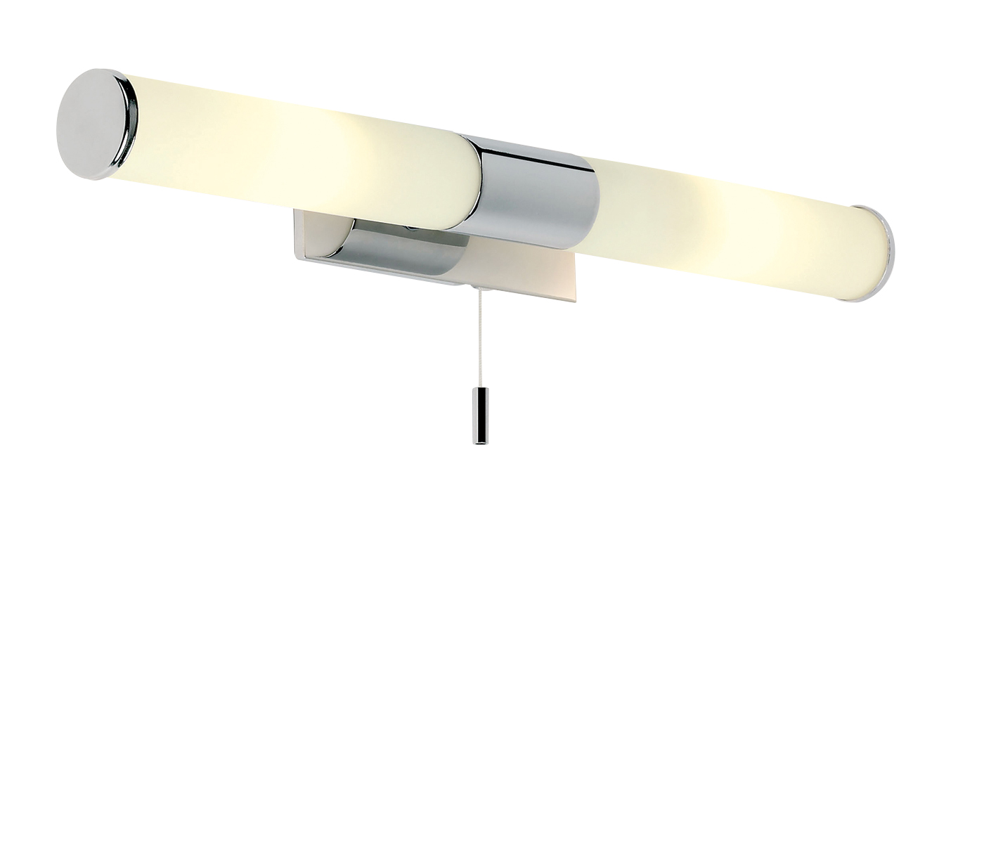 Endon Romford 2lt bathroom wall light IP44 25W Chrome & opal glass pull cord Thumbnail 1