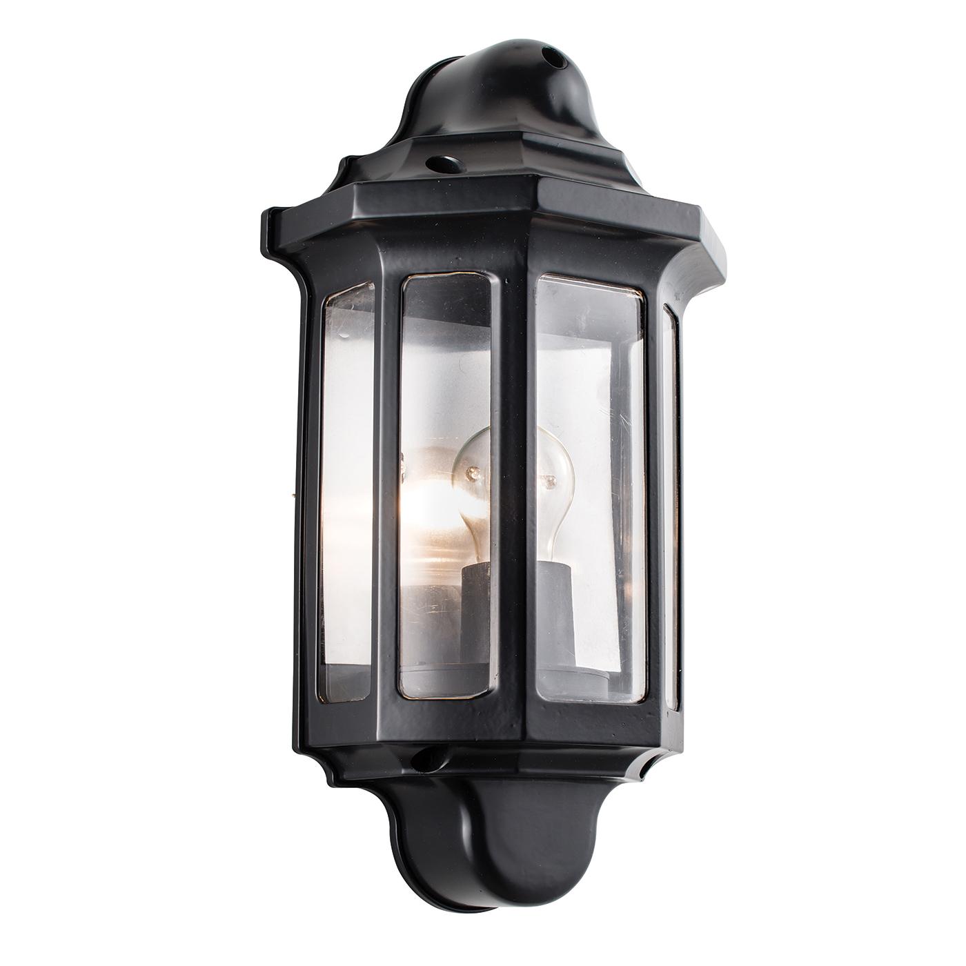 Endon Traditionnel Demi Lanterne Extérieur Porche mur lumière IP44 60 W peinture noire pc