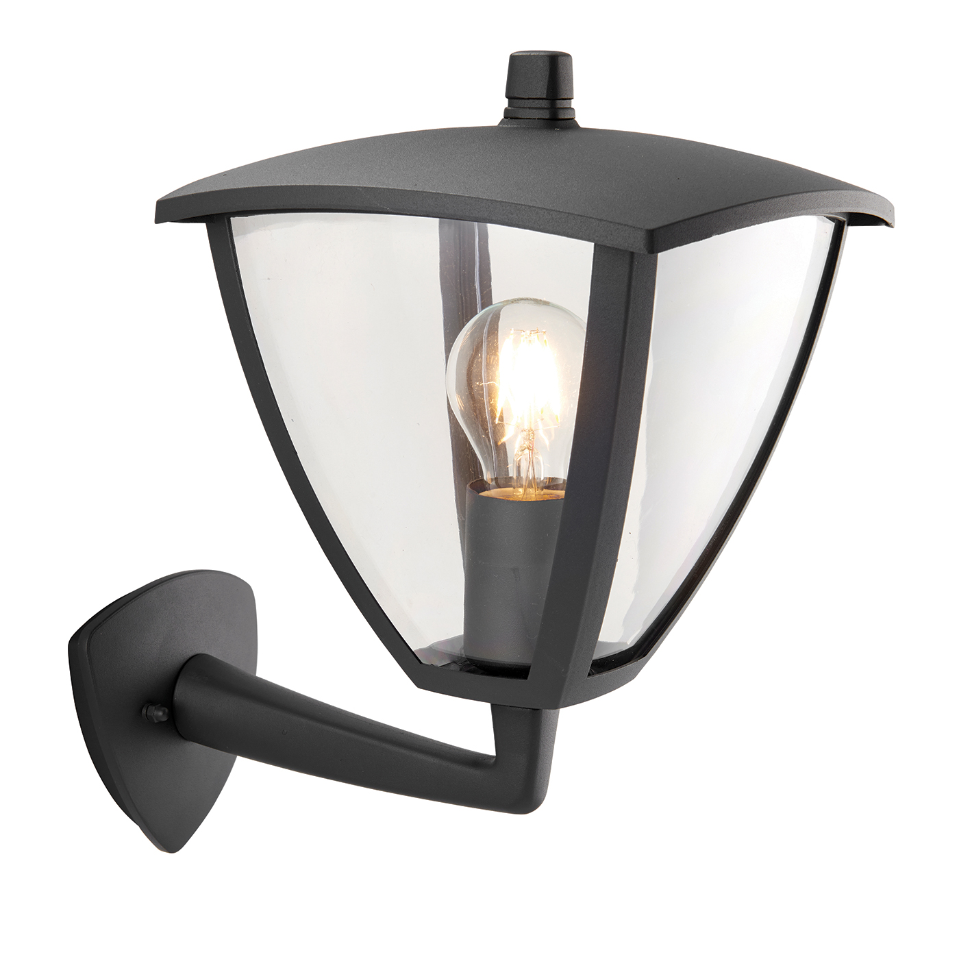 Endon Seraph Outdoor Wall Light Ip44 40w Textured Grey Paint Amp Clear Pc Liminaires