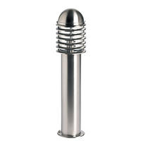 Endon Louvre outdoor post IP44 60W Polished stainless steel & clear pc