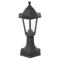 Endon Bayswater outdoor post IP44 60W Black polypropylene & clear glass