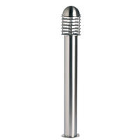 Endon Louvre outdoor bollard IP44 60W Polished stainless steel & clear pc