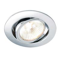 Saxby Cast Indoor Recessed Tilt Light Chrome Effect Plate 50W GU10 Reflector