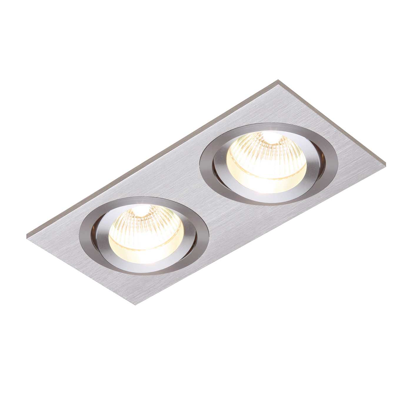 Saxby Tetra Indoor Recessed Tilt Light Brushed Silver Anodised 2x50W GU10 Thumbnail 1