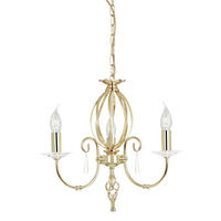 Elstead Aegean 3lt Chandelier Polished Brass 3 x 60W E14 220-240v 50hz Class I