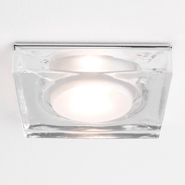 Astro Vancouver 12V low voltage Square IP65 bathroom glass downlight 50W GU5.3