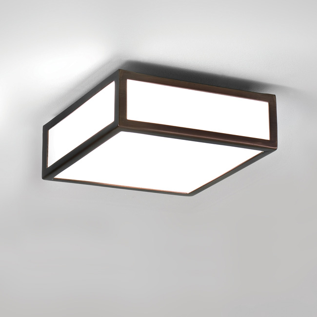Astro Mashiko 200 bathroom small square ceiling light 0993 60W E27 lamp bronze