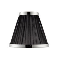 Suffolk 6 inch Black organza polished nickel lampshade 40W E14 candle