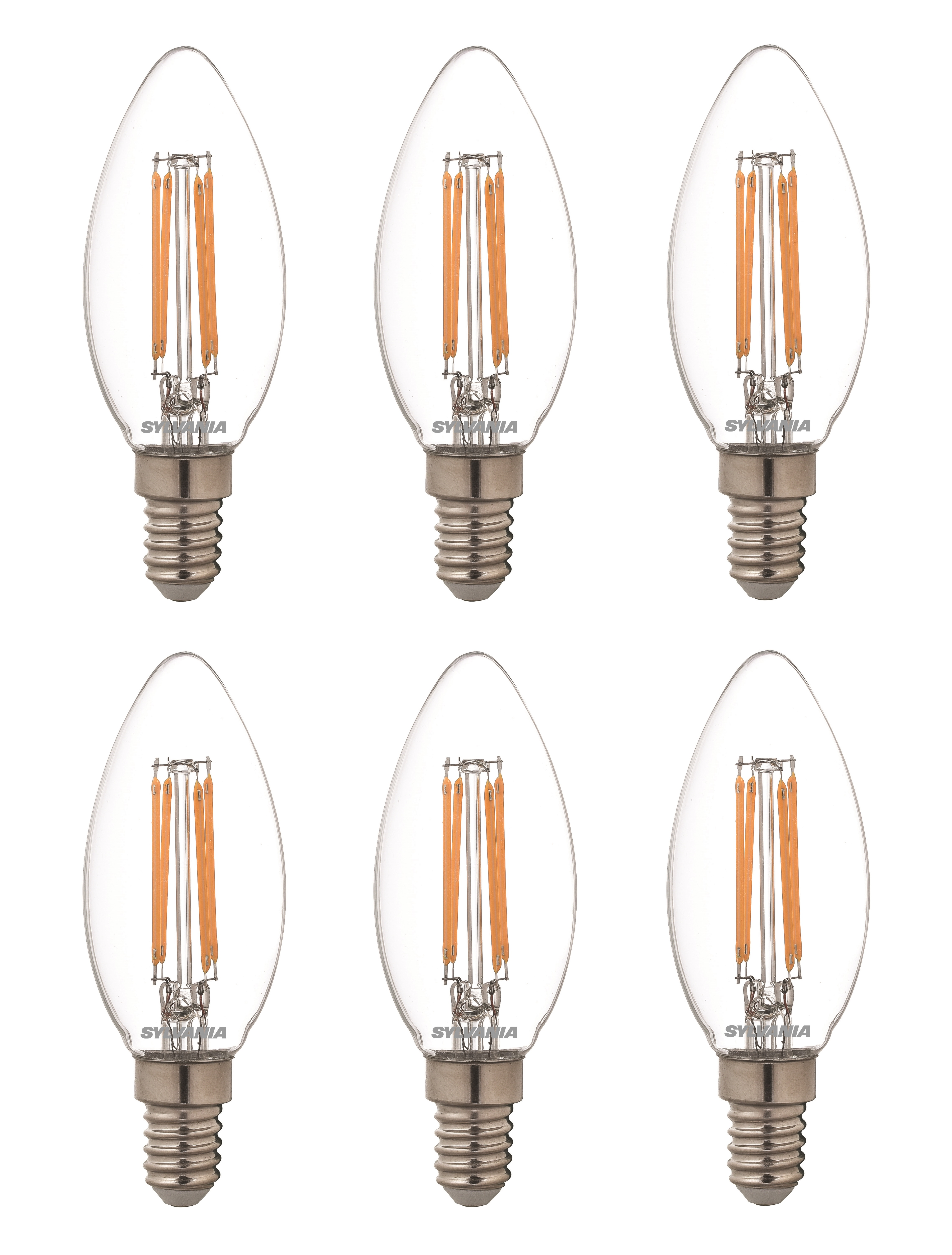 6x Sylvania dimmable LED candle light bulb E14 SES 4.5W = 40W 470lm warm white