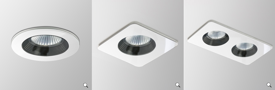 Sentinel Astro Vetro Led Bathroom Downlight Round Square Twin 10w Warm White Ip65 Black