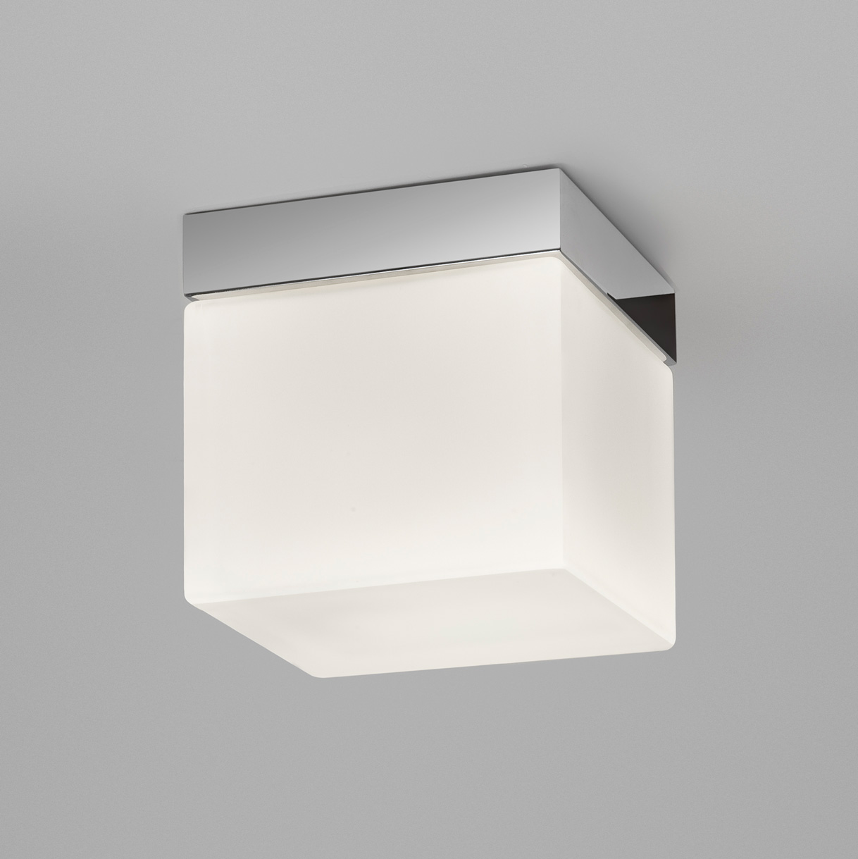 Astro Sabina 7095 square ceiling light 60W E27 IP44 polished chrome opal glass Thumbnail 1