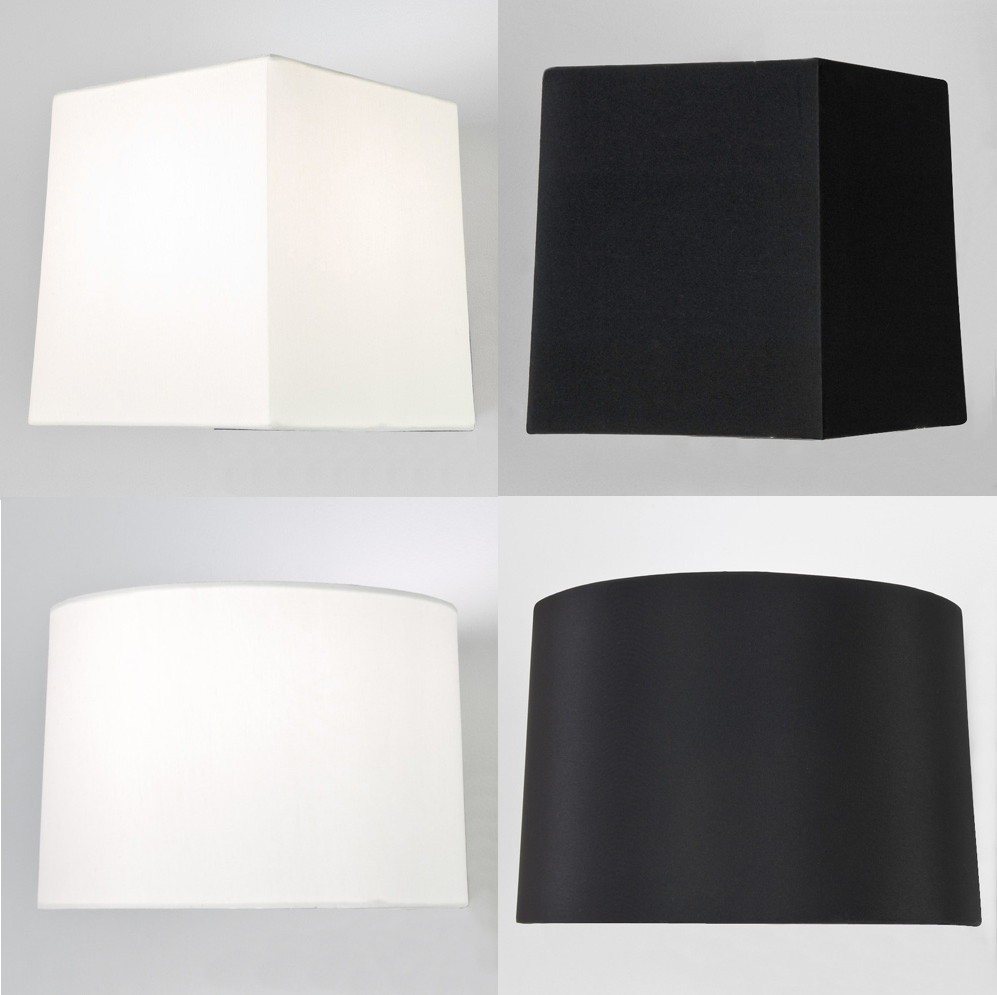 Astro Azumi Tag fabric tapered square round lampshade table black ...