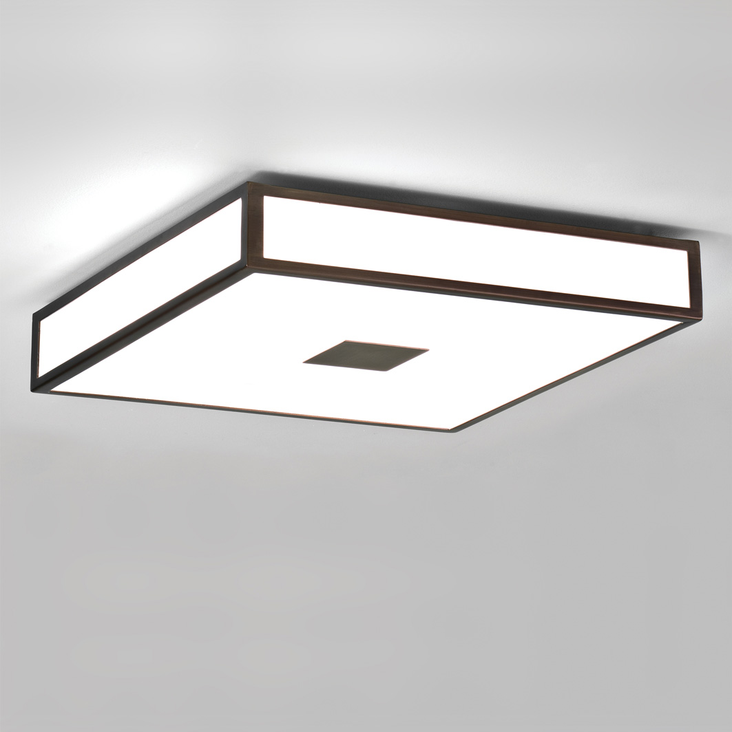 Astro Mashiko 400 zone 2 IP44 square bathroom ceiling light bronze 4 x 40W max Thumbnail 1