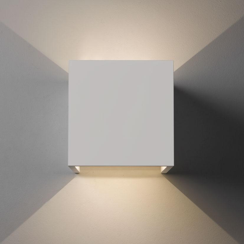 Astro Pienza Led Square Cube Ceramic Plaster Wall Light 2