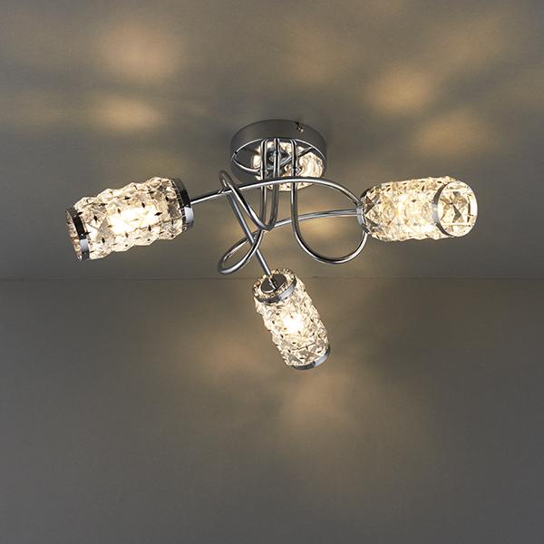 Sentinel Endon Colby Semi Flush Bathroom Ceiling Light 3x18w G9 Clear Capsule Ip44 Gl