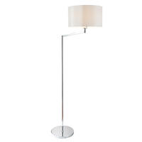 Endon Evelyn Swing Arm Floor Lamp 60W E27 GLS Chrome Finish & White Faux Silk