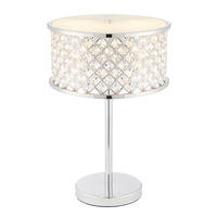 Endon Hudson Table Lamp 2x40W E14 Candle Chrome Crystal (K9) Drops Opal Diffuser
