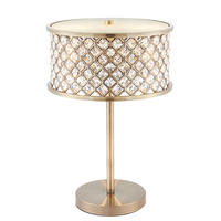 Endon Hudson Table Lamp 2x40W E14 Candle Antique Brass Finish Crystal (K9) Drops