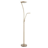 Endon Alassio Mother & Child Task Floor Lamp 18W & 6W LED Antique Brass Finish