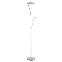 Endon Alassio Mother & Child Task Floor Lamp 18W & 6W LED Satin Chrome Finish