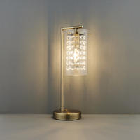 Endon Alda Table Lamp 40W E14 Candle Antique Brass Finish & Glass Drops Shade