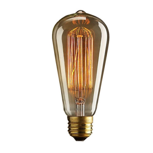 Rare vintage retro squirrel cage carbon filament lamp bulb 40W ES E27 BC B22 Thumbnail 1
