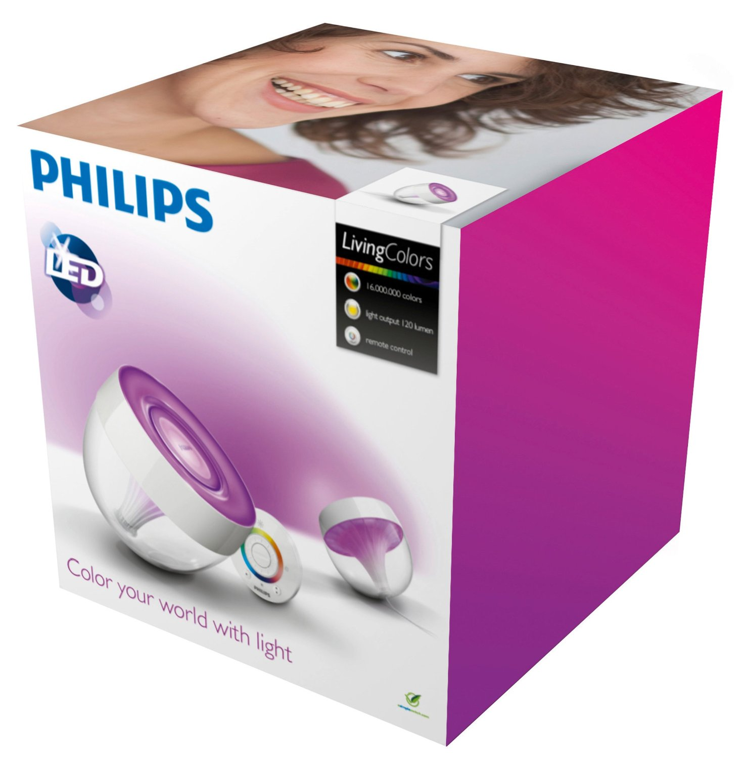 Philips LivingColors Iris LED colour changing table lamp clear remote control Thumbnail 2