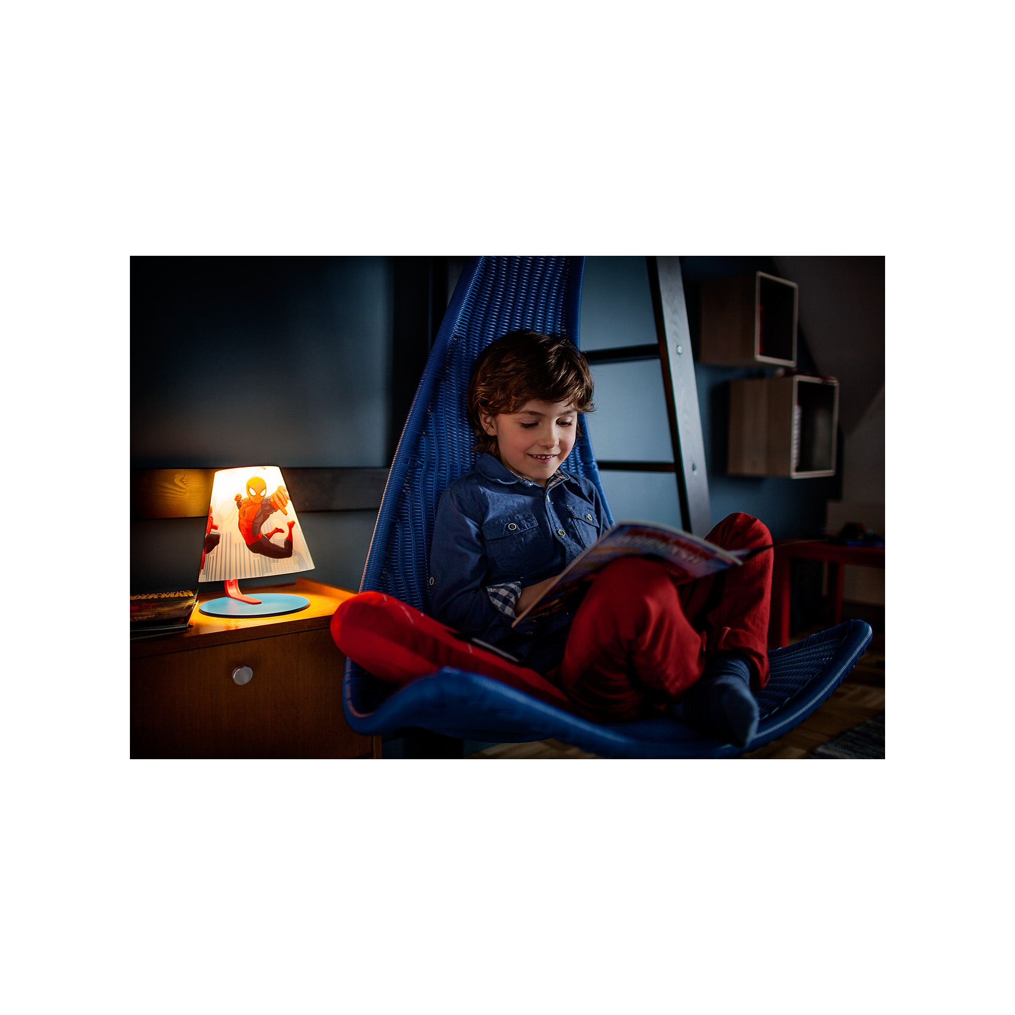 Philips Marvel Spiderman red 4W LED boys table lamp table light  Thumbnail 4
