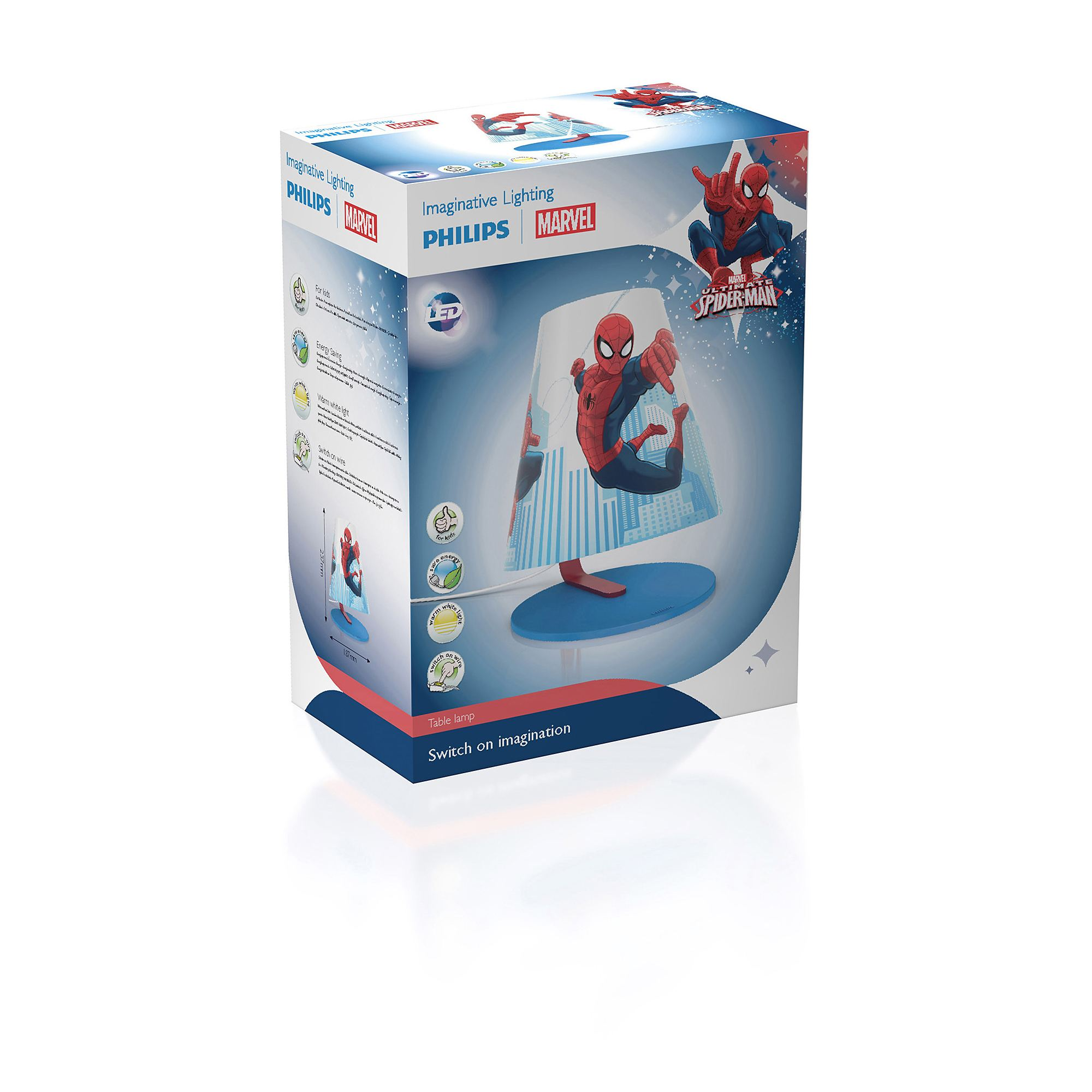 Philips Marvel Spiderman red 4W LED boys table lamp table light  Thumbnail 7