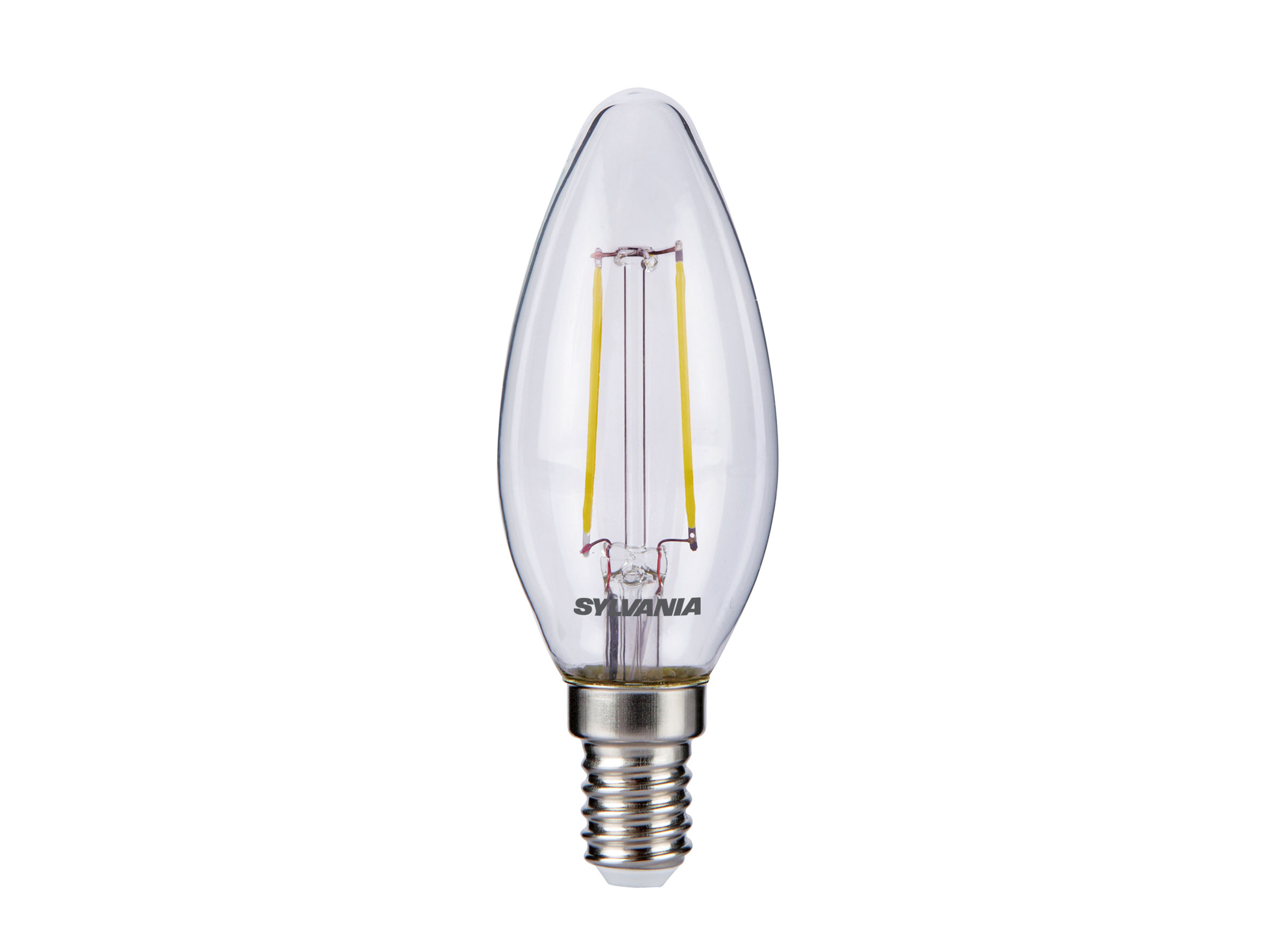 Sylvania 2.1W LED traditional candle light bulb E14 SES warm white 2700K