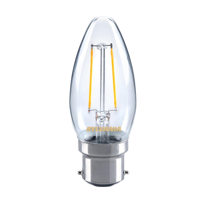 Sylvania 2 5w Led Traditional Candle Light Bulb B22 Bc