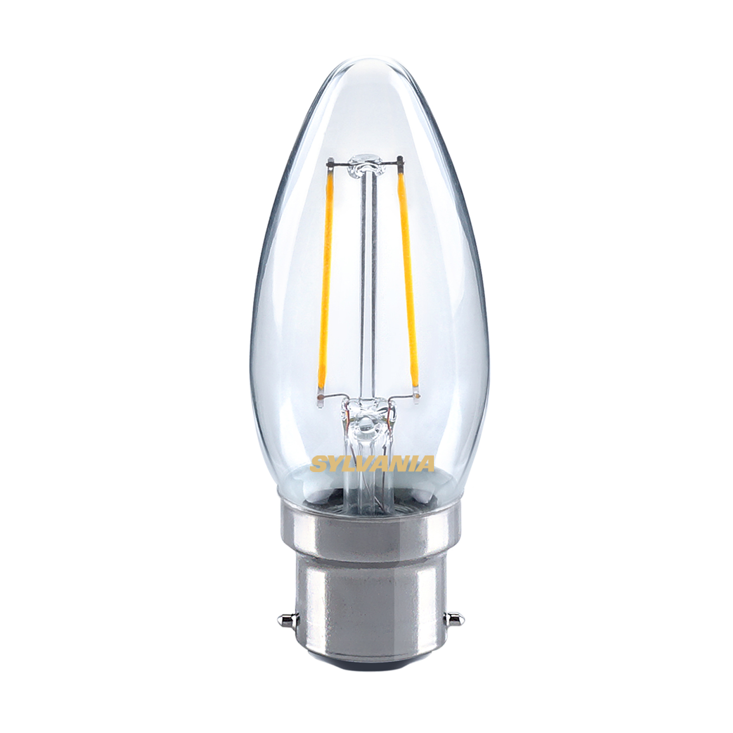 Sylvania 2.5W LED traditional candle light bulb B22 BC warm white 2700K Thumbnail 1