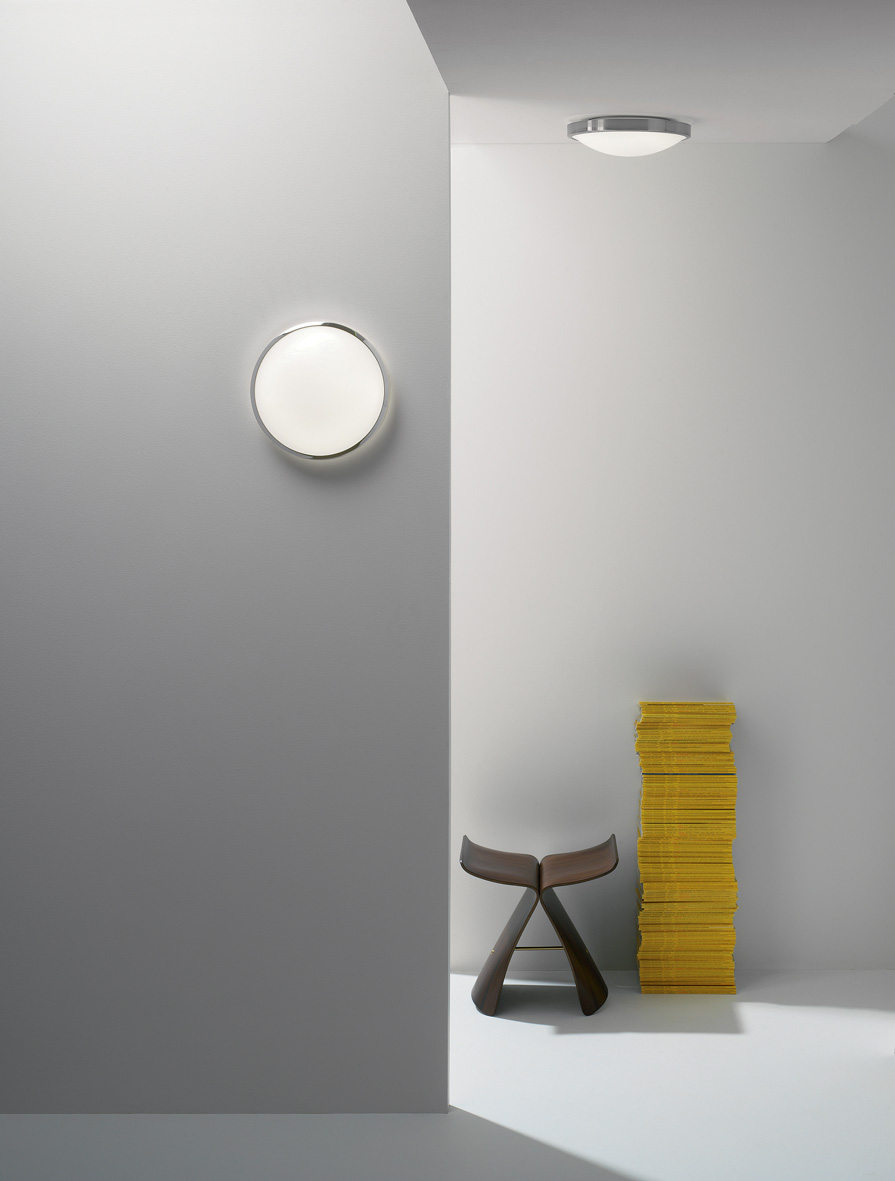 Astro Osaka 350 LED round bathroom ceiling wall light nickel 24W warm white IP44 Thumbnail 2