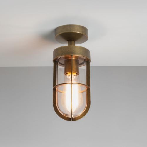 new style 4b8c2 6ff09 Details about Astro Cabin IP44 outdoor external ceiling light 60W E27  antique brass