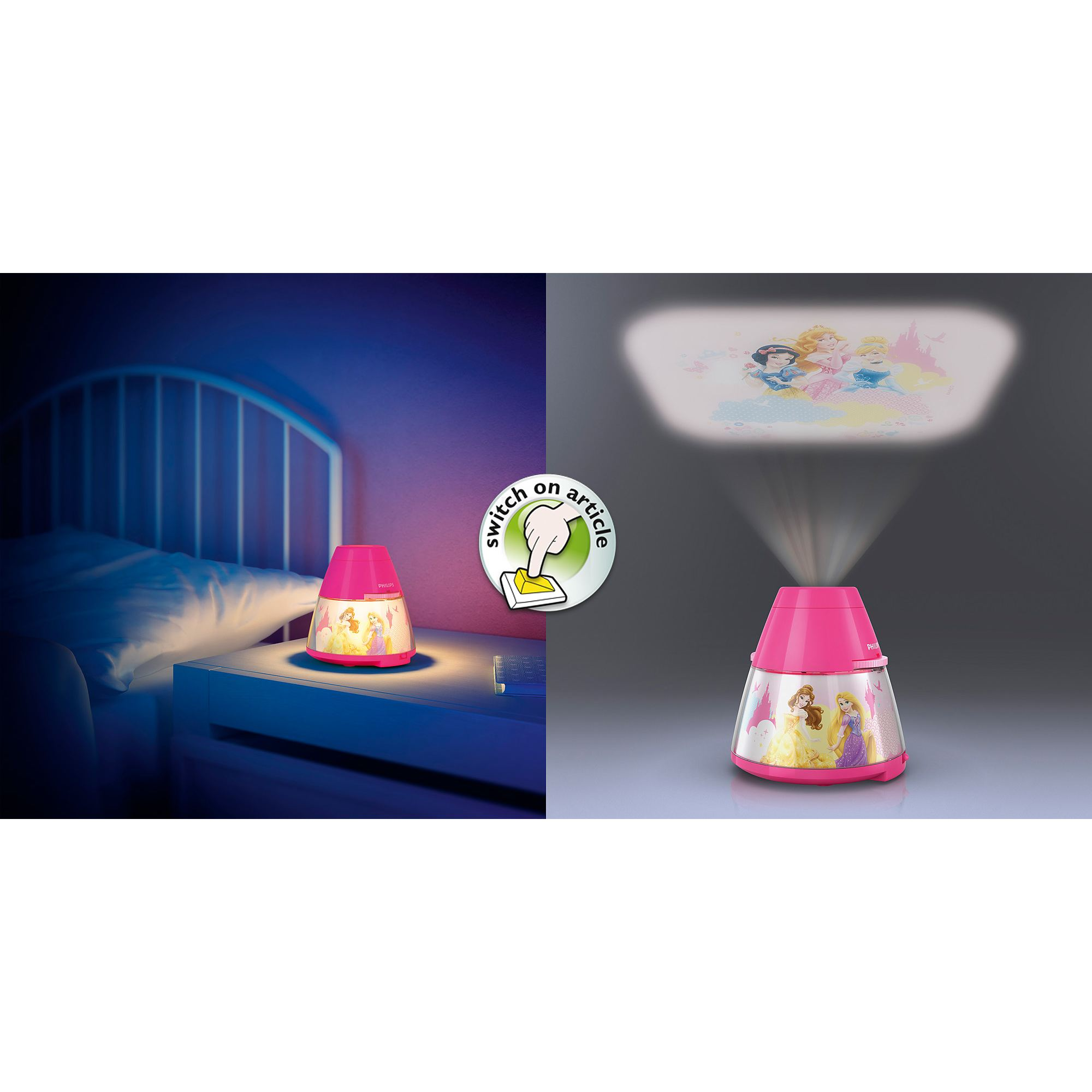Philips Disney Princess children's LED night light projector portable battery