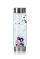 VitaJuwel ViA Wellness glass drinking bottle (rose quartz amethyst rock crystal)