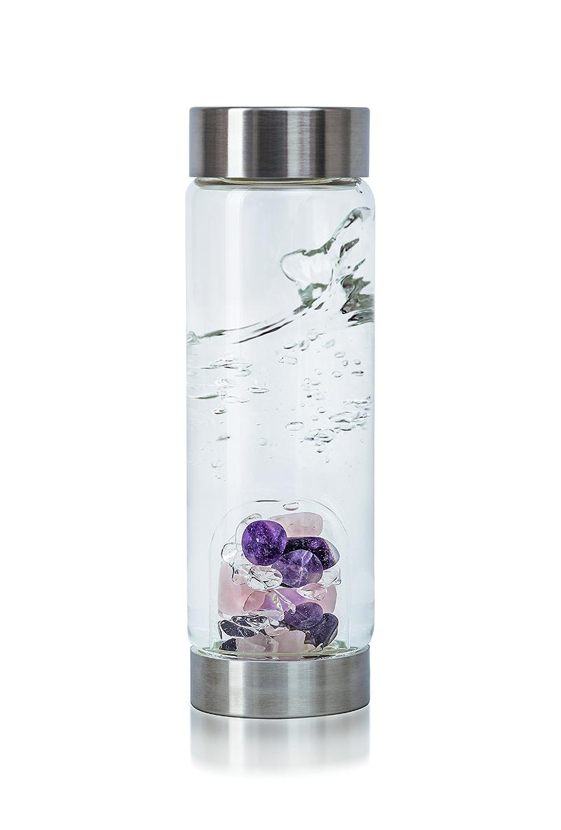 Vitajuwel Via Wellness Glass Drinking Bottle Rose Quartz
