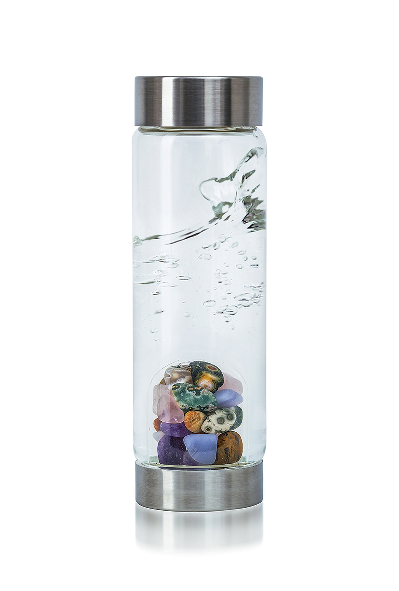 VitaJuwel ViA Five Elements glass drinking bottle amethyst chalcedony