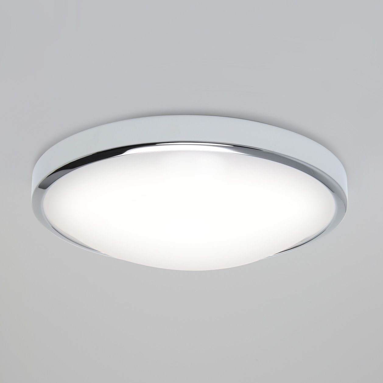Astro Osaka LED round bathroom ceiling wall light chrome 16W warm white IP44