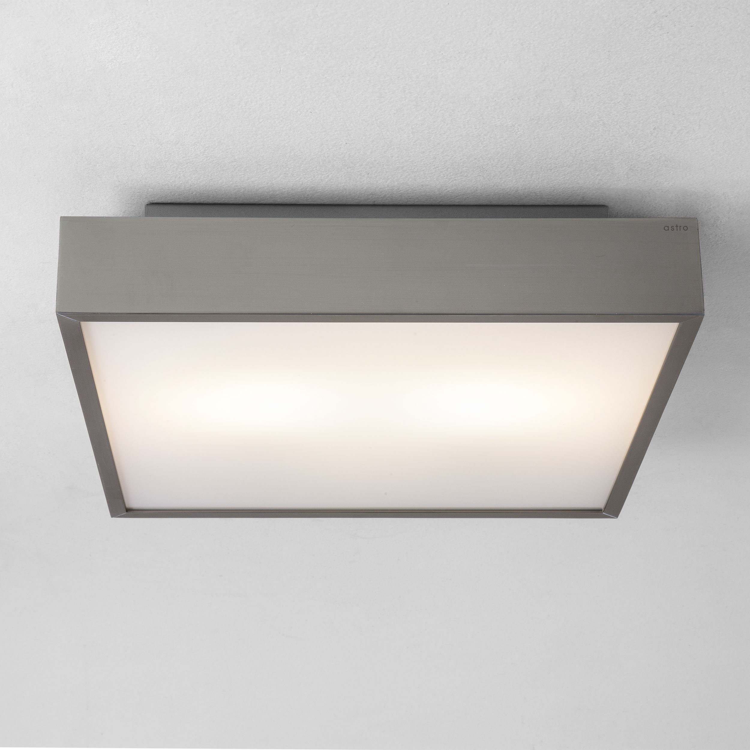 LED Square bathroom ceiling light 300 x 300 Astro Taketa 17.7W matt nickel IP44