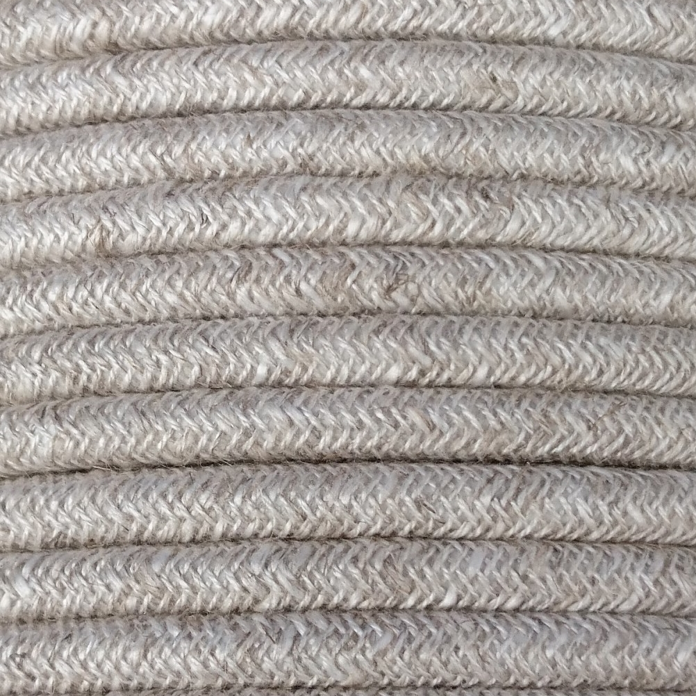 3 core 0.75mm round natural braided vintage linen fabric electrical flex cable Thumbnail 1