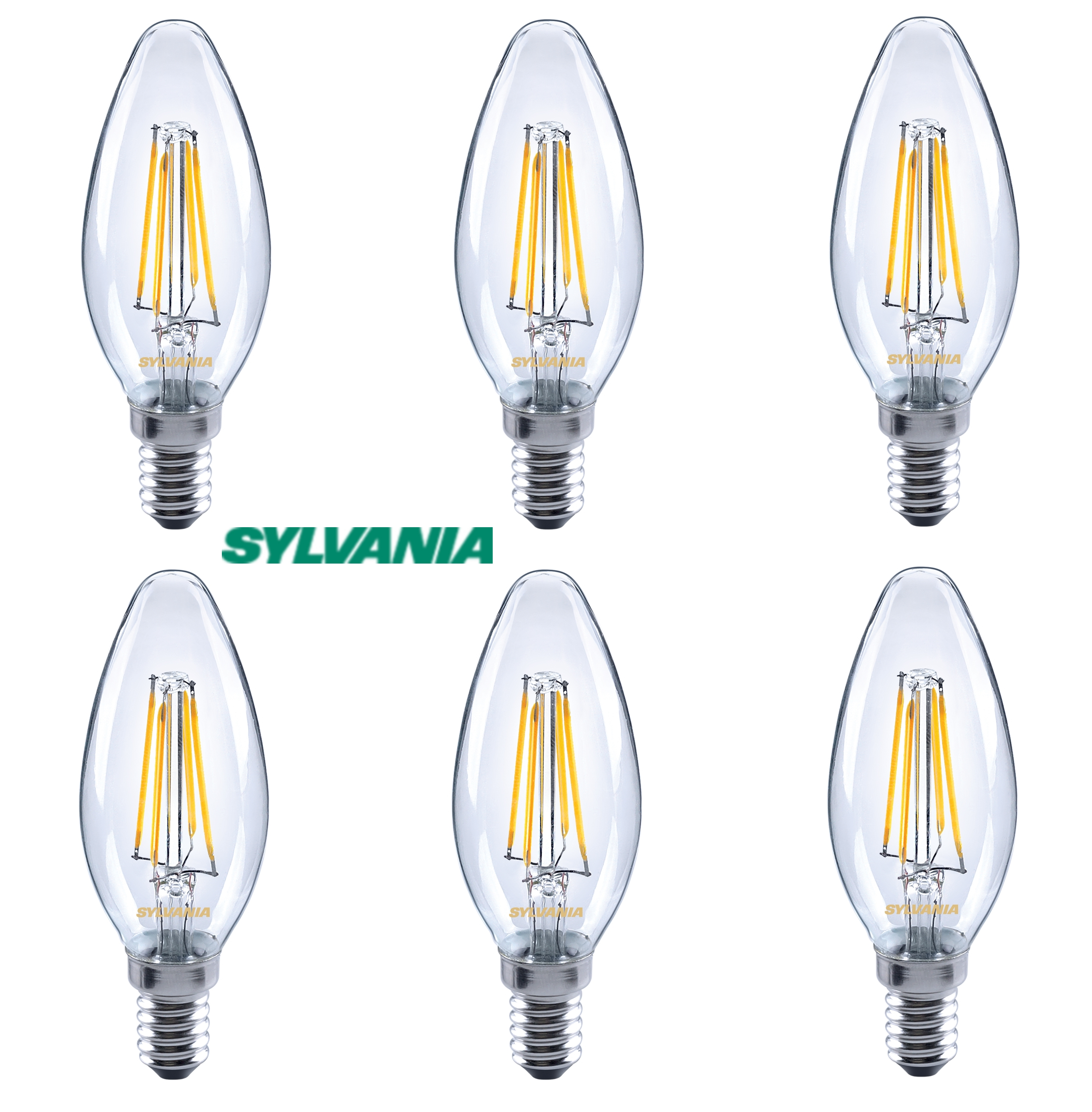 6x Sylvania 4W = 37W 420lm LED traditional candle light bulb E14 SES warm white
