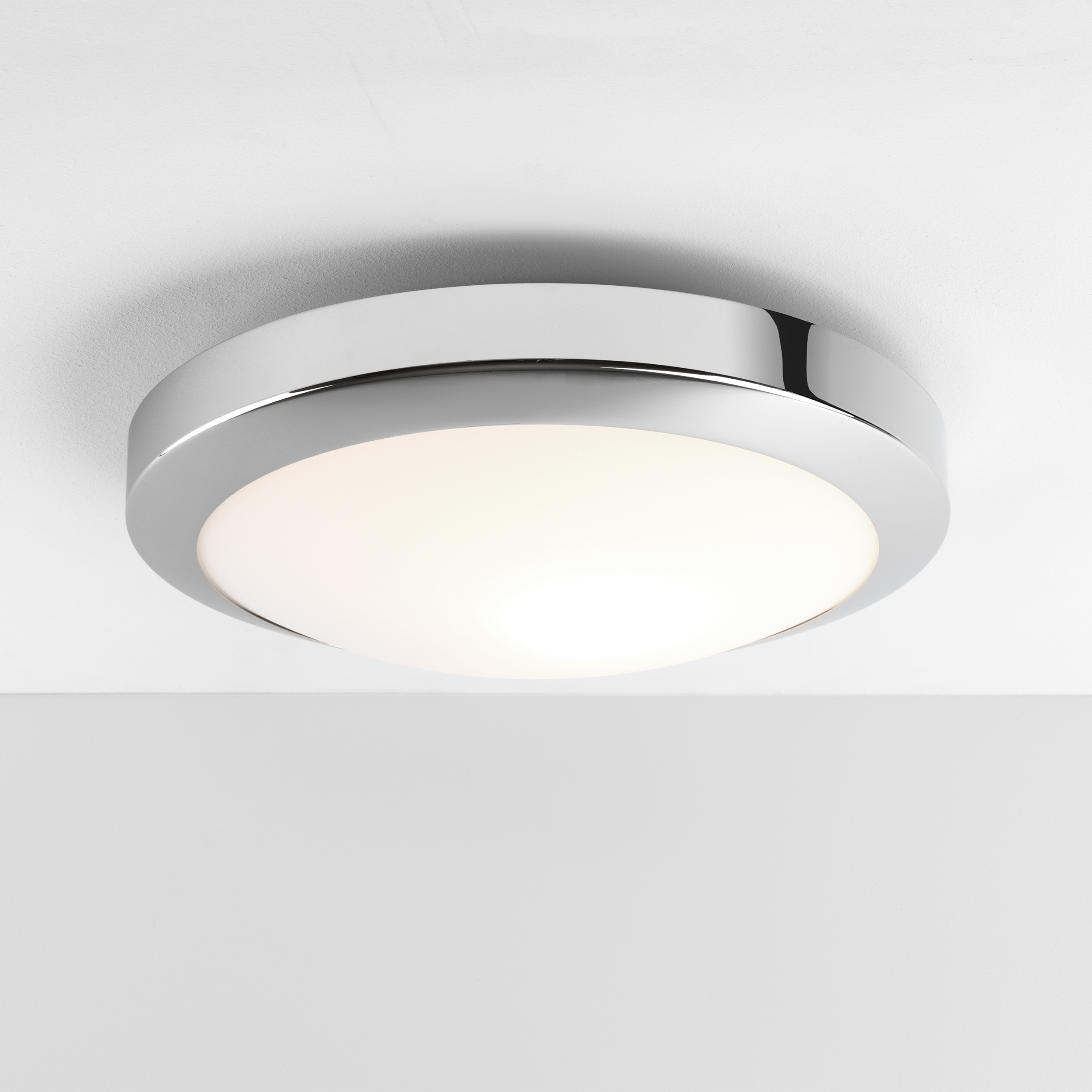 Astro dakota LED round bathroom ceiling light 16W polished chrome IP44 300mm