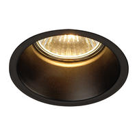 Intalite HORN GU10 glare reducing downlight, round, matt black, 50W